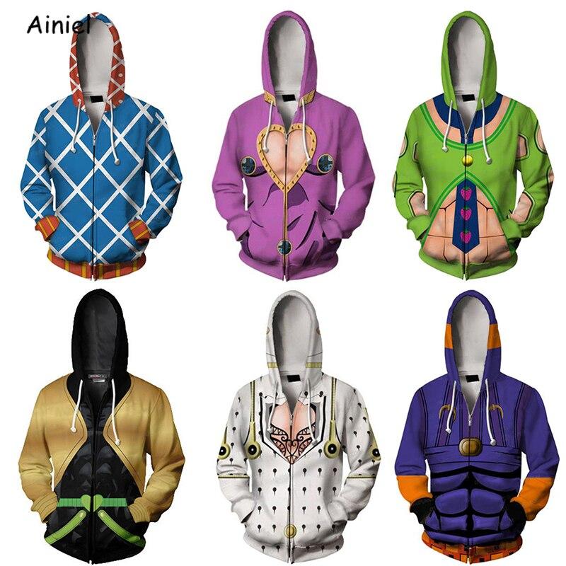 Anime JoJo's Bizarre Adventure Hoodie Sweatshirt JoJo Thin Hoodies Casual Zipper Casual Hooded Tops Coat Outfit For Men Boys