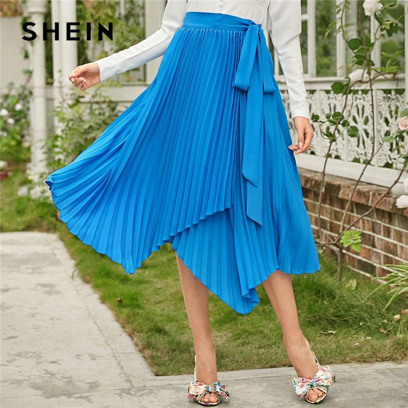 SHEIN Blue Self Belted Asymmetrical Hem Pleated Skirts Women Spring Belted Mid Waist Ladies Solid Elegant Long Skirt