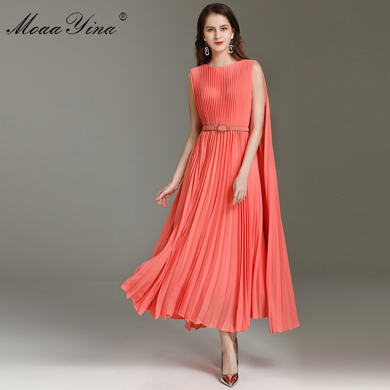 MoaaYina Fashion Designer Dress Spring Summer Women's Dress Belt Pleated Dresses