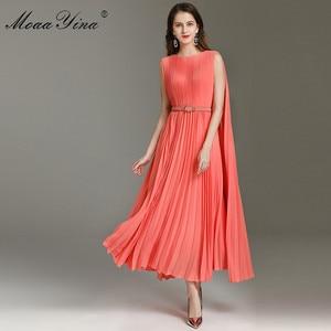 MoaaYina Fashion designerska sukienka wiosenny letni damski pasek do garnituru plisowane sukienki