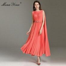 Moaayina moda designer vestido primavera verão vestido feminino cinto vestidos plissados