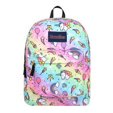 Hot Sale Girl School Backpack Cute Unicorn Canvas School Book Bag Boys Travel Rucksack Daypack Shoulder Bag Lightweight Mochila best gift hcandice new unisex boys girls canvas rucksack backpack school book shoulder bag drop ship bea6613