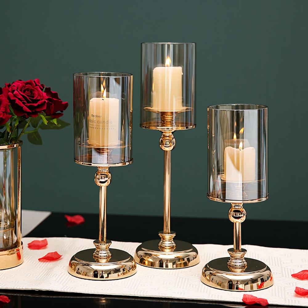 Golden Metal Pillar Candle Holders Nordic Home Decor Metal Candlestick  1