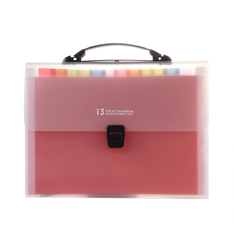 Handheld 13 Pockets Expanding File Folder Accordion File w/ Buckle Expandable Document Organizer for Home School Office