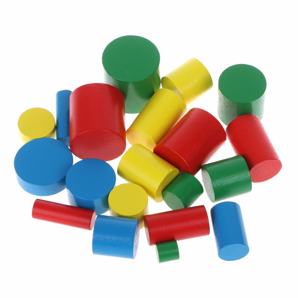 20pcs/set Montessori Colorful Wooden Cylinders Educational Toys For Kids Children Early Teaching Gift