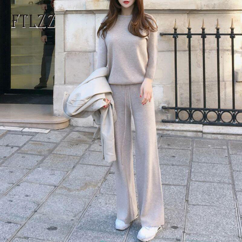 Fashion Women Streetwear Knit 2 Pcs Sets 2019 Autumn Winter New Woman Knitted Long Sleeves Pullover Tops+wide Leg Pants Outfit