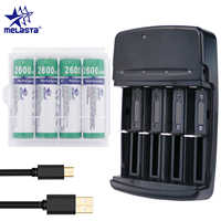 Melasta NIZN AA 1.65V 2600mWh Rechargeable Battery with 4 slots LED USB charger Ni-Zn rechargeable batteries for toys MP3 camera