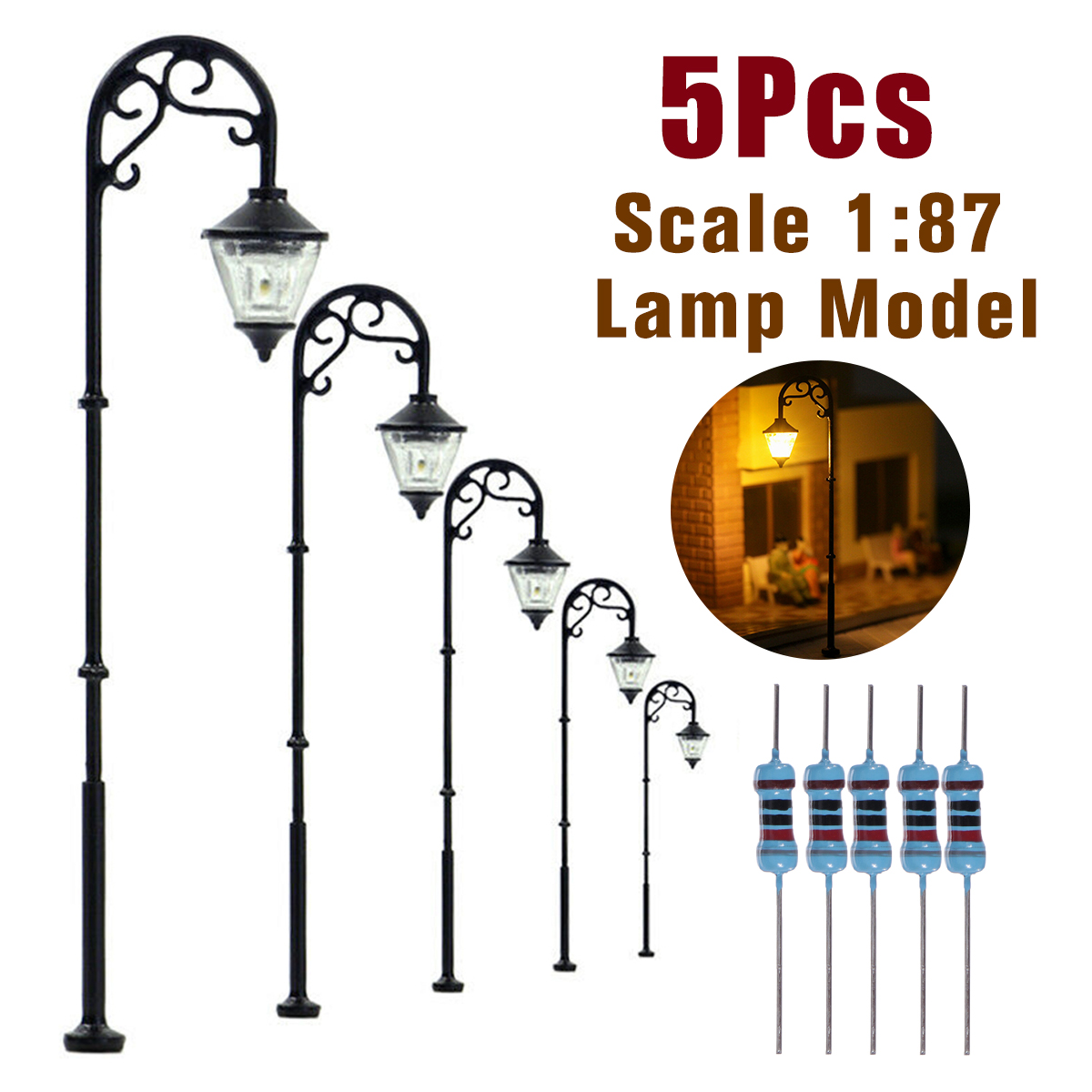 5/10 шт 1:87 HO ретро модели уличного фонаря Макет фонарный столб сада ландшафтный светильник железнодорожный поезд лампы Декорации для микро л...