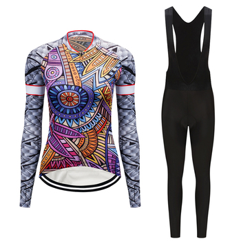 Long sleeve bicycle clothes women's cycling jersey set triathlon suit mtb bike clothing dress maillot sport skinsuit wear outfit