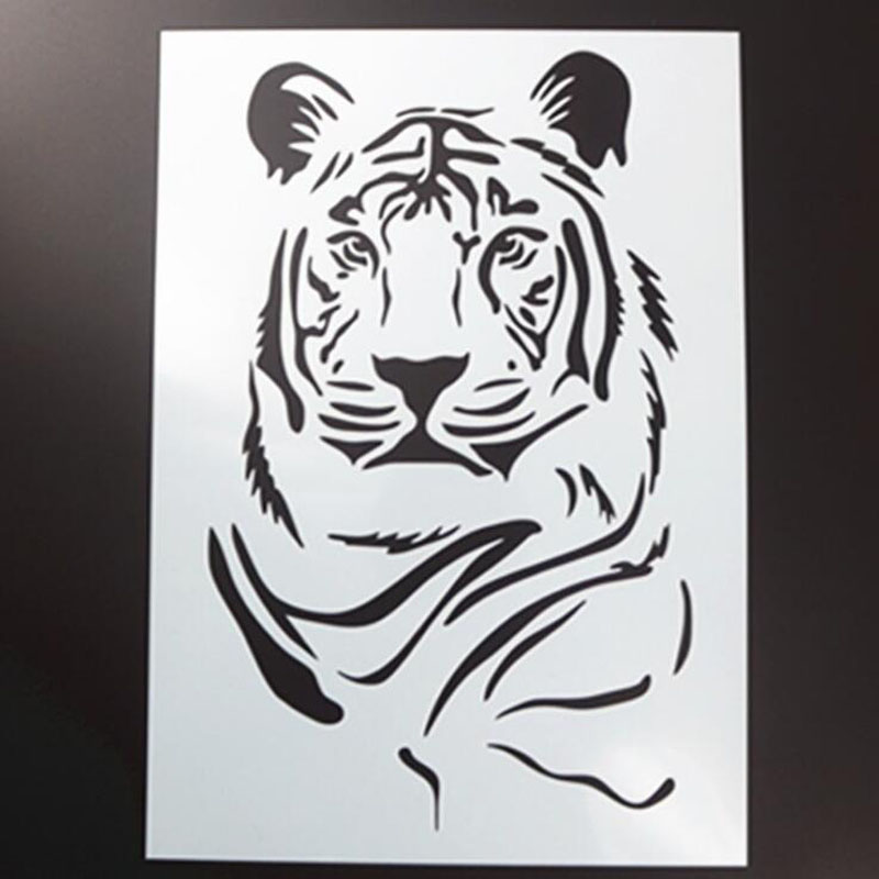 1pc Animal Tiger DIY Layering Stencils Wall Painting Scrapbook Coloring Embossing Album Decorative Paper Card Template Reusable