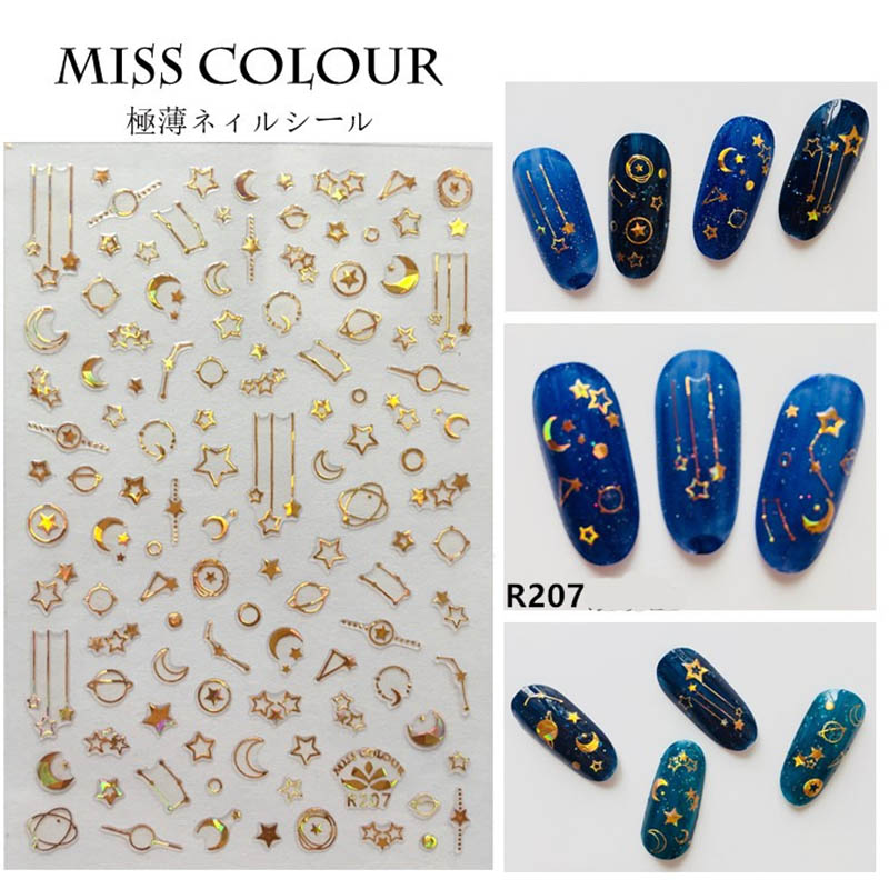 Holographic Gold 3D Nail Sticker Meteor Star Moon Holo Laser Adhesive Decal Sticker Manicure Nail Art Decoration