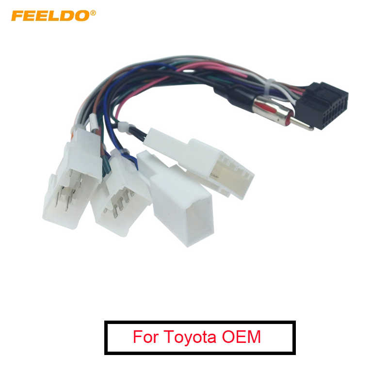 FEELDO 1Pc 16P Auto Head Unit Kabelboom Adapter Voor Toyota OEM Autoradio Harnas Met 4- terminal # AM2017