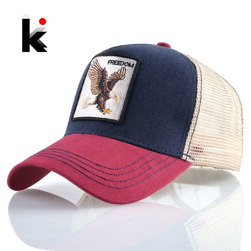 Baseball Caps Eagle Embroidery Hip Hop Hats Men Snapback Breathable Mesh Bones Fashion Streetwear Trucker Cap Women
