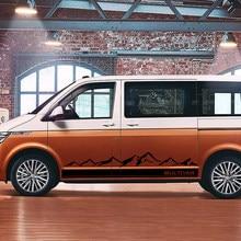 2 pçs listras laterais adesivos de carro vinil filme para volkswagen multivan toyota elfa auto montanha decalque estilo do carro tuning acessórios