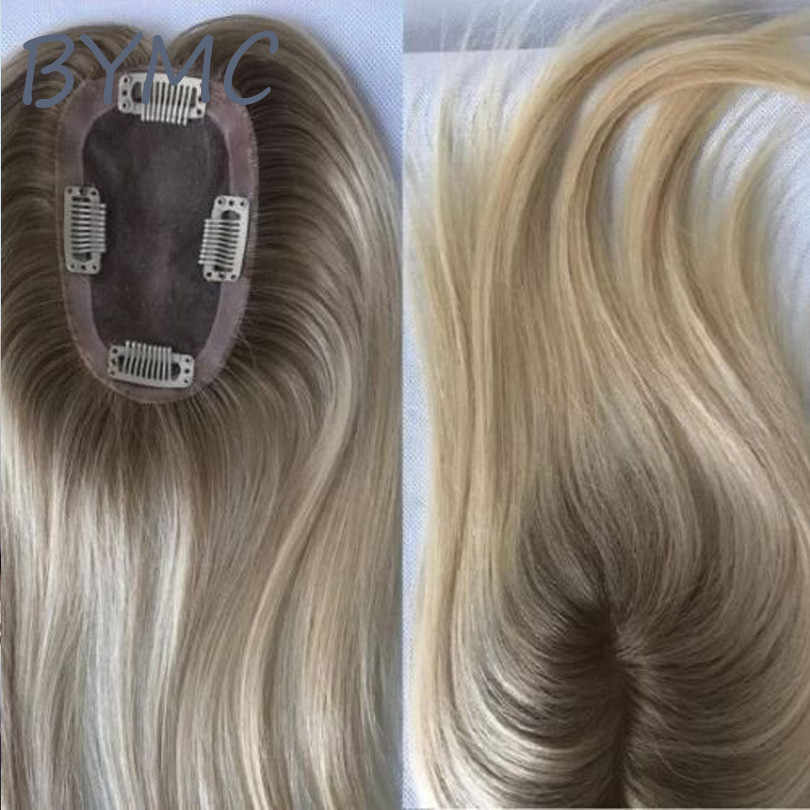 Ombre Blonde Joodse Haar Toppers Lange Rechte Natral Zwarte Kleur Sluiting Toupetje Mannen Vrouwen Toupet Europese Remy Haar Mono Pruik