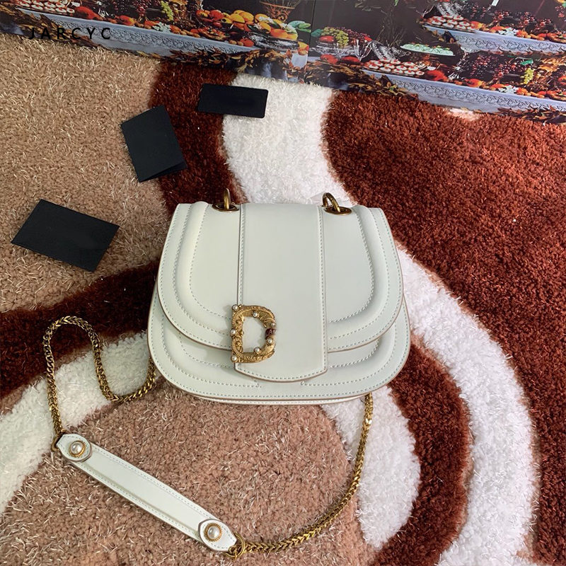 Retro Cowhide Leather Saddle Pearl Bag Women Luxury Shoulder Bags Small Round Handbag Spring And Summer Crossbody Messenger Bags