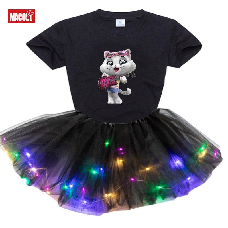 Baby Girls Clothing Dress Set Summer T Shirt Kids Dress Clothes Outfits Cat New 2Pcs Suit Tutu Dress Light LED Birthday Present