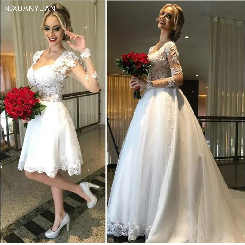 Wedding Dress 2 In 1 See Through Back Bridal Dress 2020 Stylish Long Sleeves Lace Applique Vestido De Noiva
