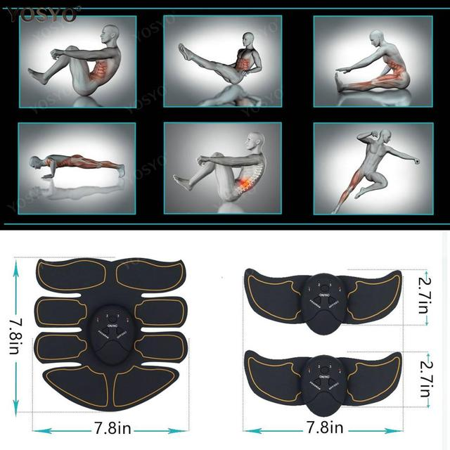 EMS Muscle Stimulator Trainer Electric Wireless Foot Buttocks Hip Abdominal ABS Fitness Slimming Feet Massager Gel Pad 3