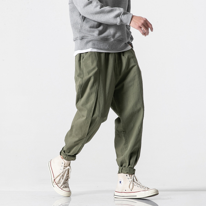 Tide Off Element Japanese-style Retro MEN'S Trousers American Leisure Mr Uncle Liu's Bib Overall Straight-Cut Volume Leg Army Pa