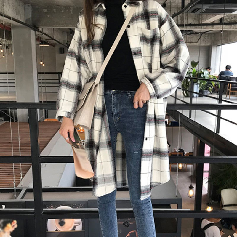 Women Autumn Retro Loose Black & White Plaid   Blouse   Lapel Long Sleeve Casual Mid-Long Plaid   Shirt     Blouse   2019