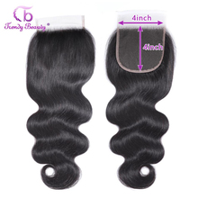 Indian Body Wave Lace Closure Human Hair Middle/Free/Three 4*4 Inches Remy Natural Black Color Free Shipping Trendy Beauty