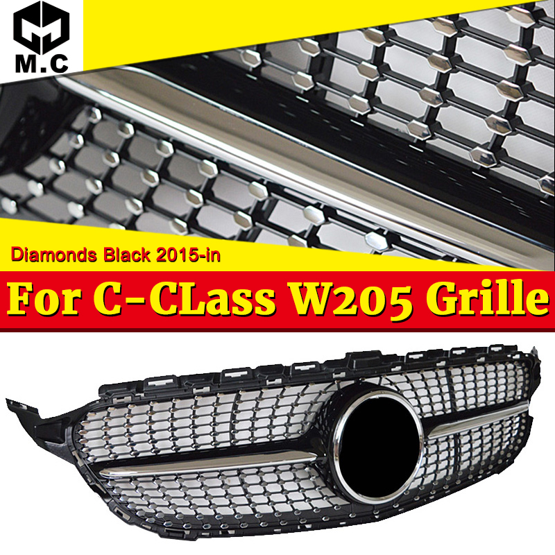 Diamond Style W205 Car Front Grill Grille ABS Black Without Sign Fit For Mercedes Benz C Class C200 C250 C300 Without Camera 15- image