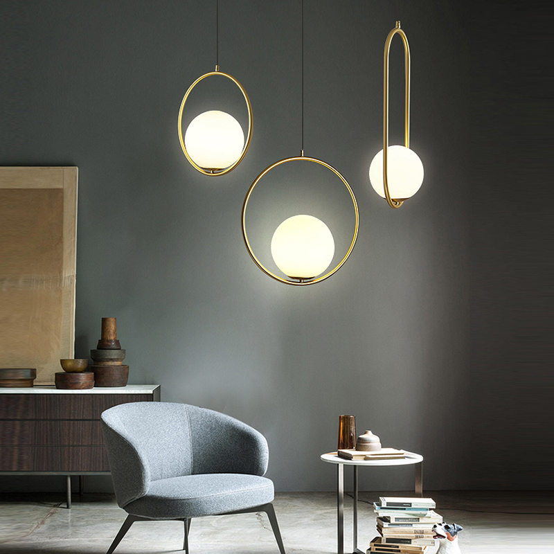 Nordic Led Pendant Lights Lighting Luminaire Industriel Hanging Lamp Lustre Suspension Ball Glass Glod Art Kitchen Pendant Lamp