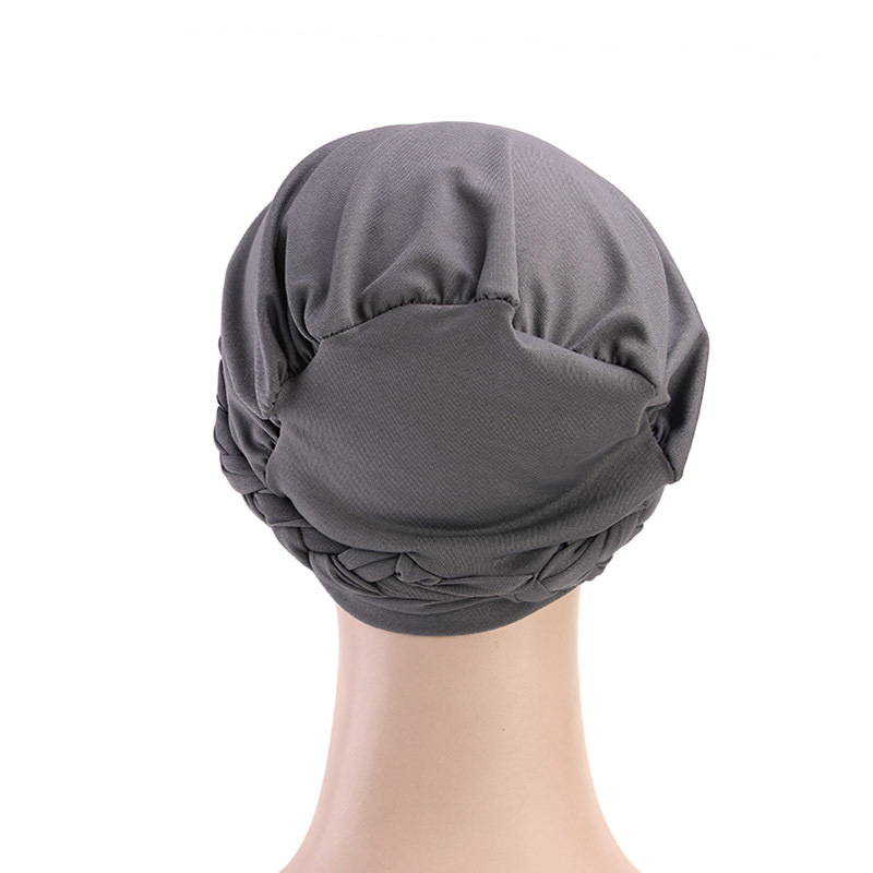 Hb0392525c1c3488ea2b95394f046968aj - NEW arrival Retro Women Braid India caps Muslim Cancer Chemo full cover-up  Beanie Hair Loss Turban femme Wrap