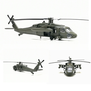 Hot Alloy Diecast Black Hawk Armed Helicopter Fighter Model With Sound &Light Pull Back For Kids Toys Free Shipping With Box(China)