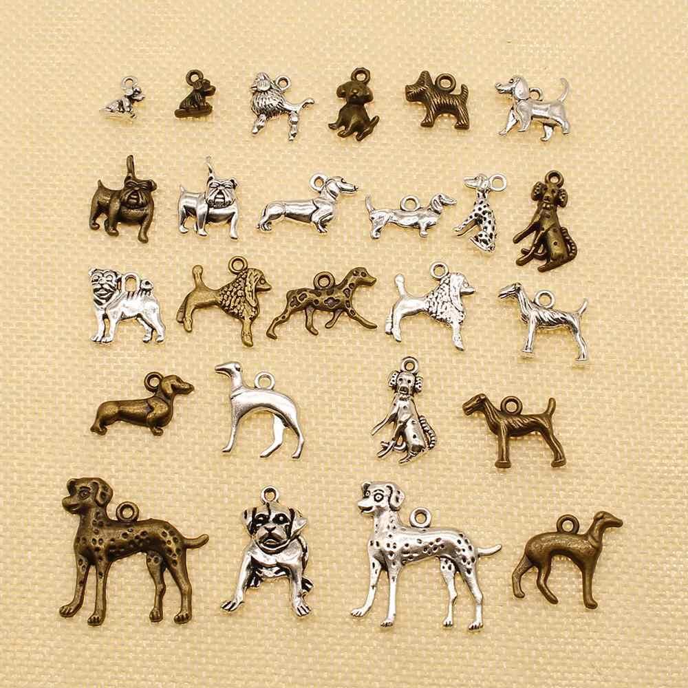 15 ชิ้นโลหะ Charms หรือสร้อยข้อมือ Charms สัตว์น่ารักลูกสุนัข Bulldog HJ037