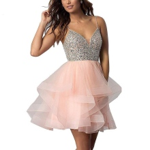 Homecoming-Dress Short Graduation-Dress Party-Gown Crystals Sequins Tulle Mini 8-Grade