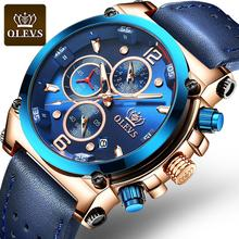 OLEVS Luxury Men's Watch Leather Big Men Watches