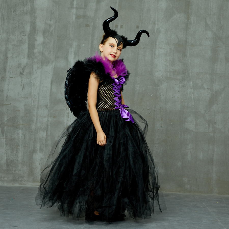 Hb0398c180c1443ad986760c6e9f769ca1 Kids Maleficent Evil Queen Girls Halloween Fancy Tutu Dress Costume Children Christening Dress Up Black Gown Villain Clothes