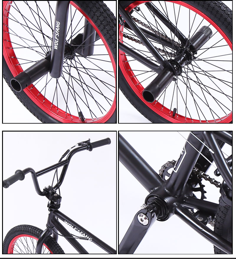 Hb03997d251914f28ad590896da9f681eH wolf's fang 20Inch BMX steel frame Performance Bike purple/red tire bike for show Stunt Acrobatic Bike rear Fancy street bicycle