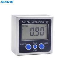 Shahe medidor de ângulo digital nível transferidor ângulo finder calibre chanfrado inclinômetro com base magnética eletrônico