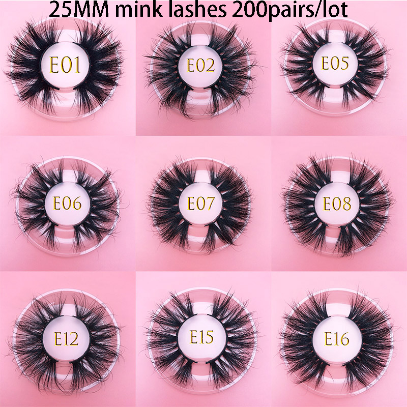 25mm 3D Mink Lashes Wholesale 200pairs/lot Thic Strip 3D Mink Eyelashes Custom Packaging Label Makeup Dramatic Long Mink Lashes