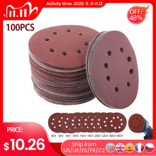 Papel de lija redondo de 100 Uds. De 5 pulgadas y 125mm, discos abrasivos de ocho huecos para pulir de 40 a 600 pulgadas