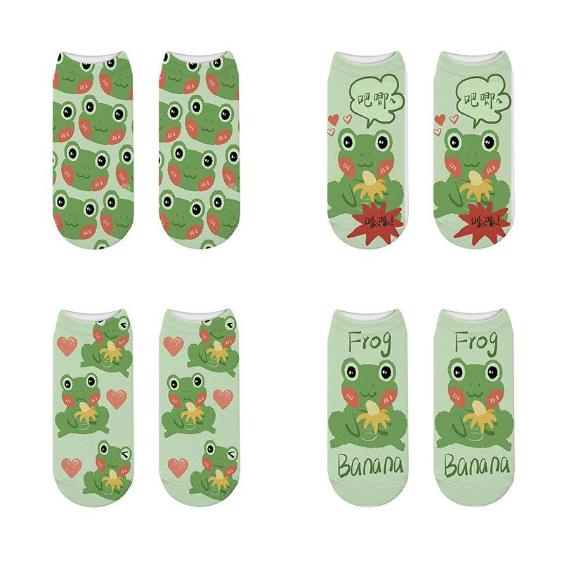 Новые модные женские бриджи с мультяшными животными, лягушки, хлопковые короткие носки, счастливые корейские бриджи в стиле Харадзюку