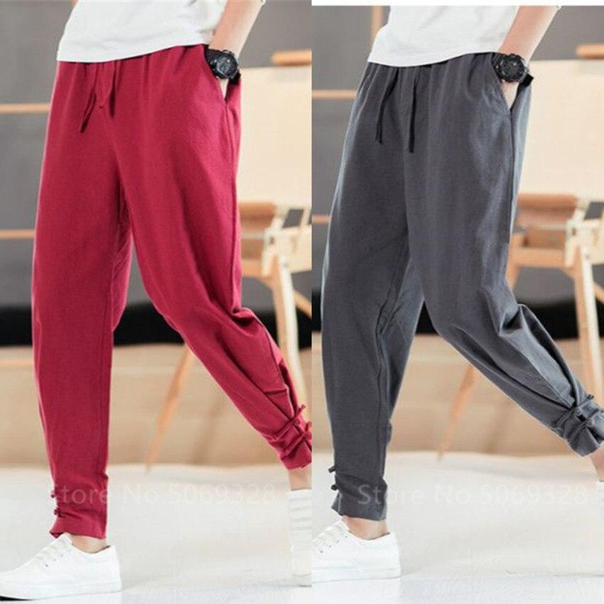 Men Apanese Style Pants Samurai Man Kimono Homme Clothing Cardigan Chinese Kung Fu Solid Cotton Loose Plus Bottom Adult Trousers