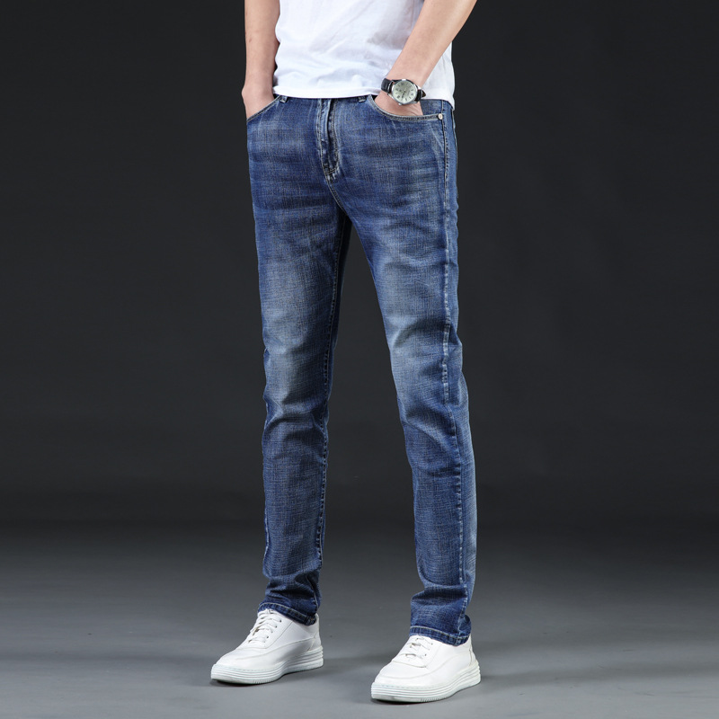 Jnf313 # Popular Large Size Lard-bucket Slimming Fashion Elasticity Cool Breathable Soft Simple Jeans 28-46 Code
