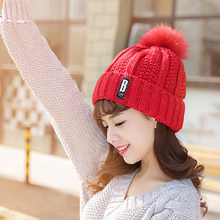 Women Winter Pom Poms Hats Casual Beanies Knitting Hat Thick Cap Fashion Crochet Hat Fur Pompon Casual Cap(China)