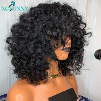 Short Curly Bob Wig Human Hair Wigs With Bangs Remy Brazilian Scalp Top Full Machine Made For Black Women Xcsunny - discount item  68% OFF Human Wigs( For Black)
