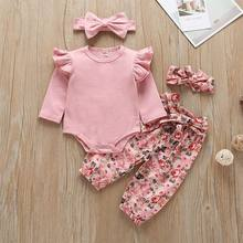 Wholesale Newborn Girl 4pcs Clothing Sets 2020 Sping Autumn Floral Pants+Romper+Headband Outfits Babies Clothes E20478 cheap JORGE AMADO COTTON Fashion O-Neck Pullover Full REGULAR Fits true to size take your normal size Combed Cotton Coat Baby Girls