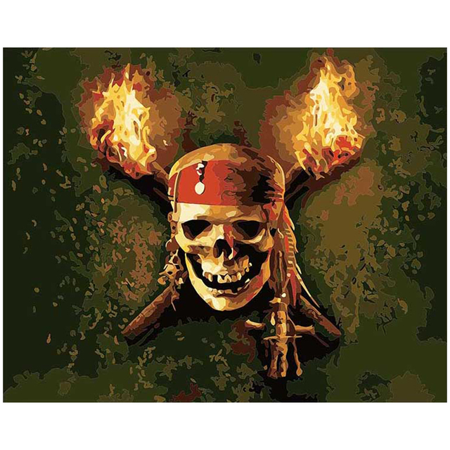 Painting By Numbers Kit Skull Flaming Torches Fantasy Horror Pirates
