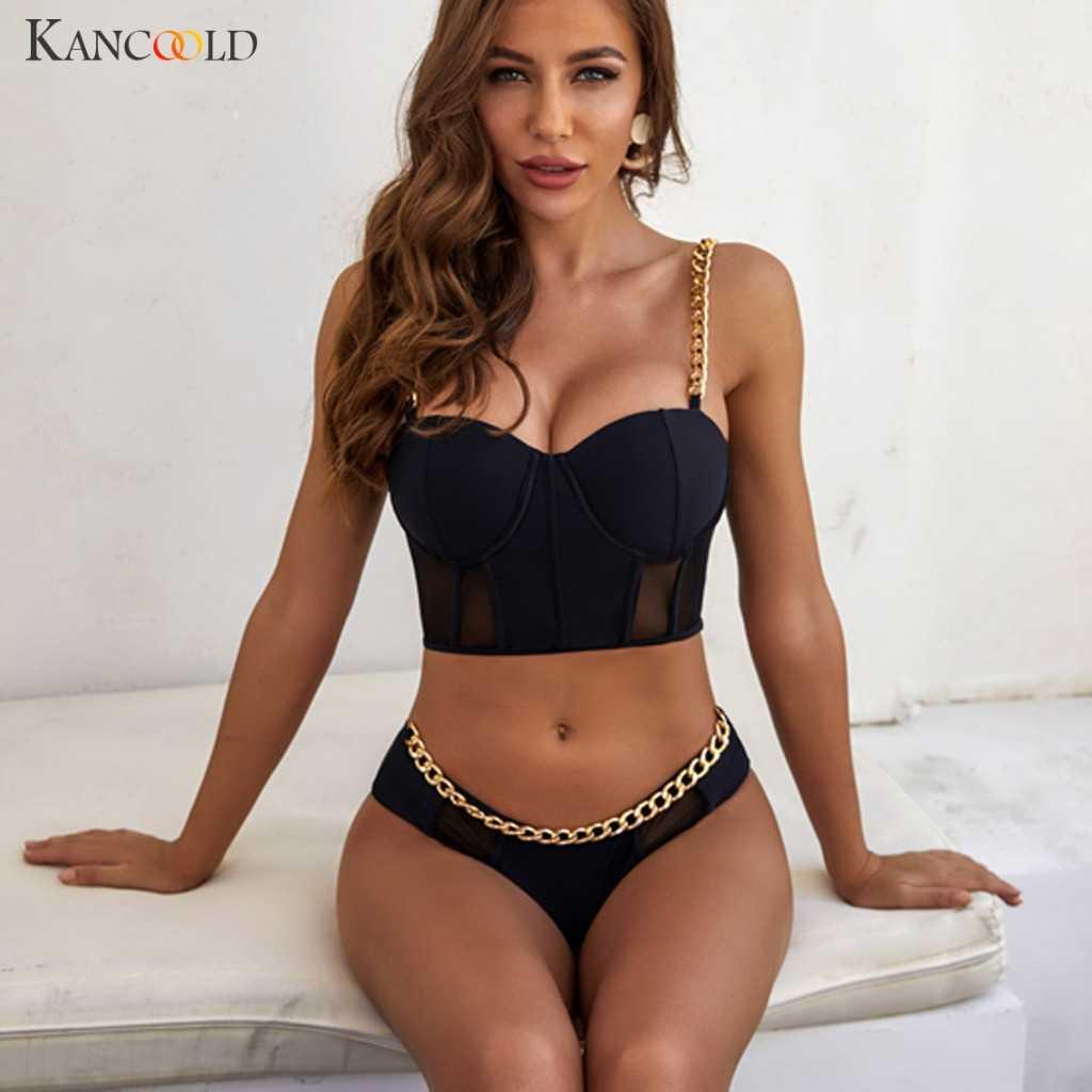 Kancoold Catena Sexy Della Fasciatura Del Bikini Push Up Swimswear Costume da Bagno Nero Costume da Bagno Spaccato Biquini Imbottito Beachsuit Reggiseno a Vita Bassa Del Vestito 20