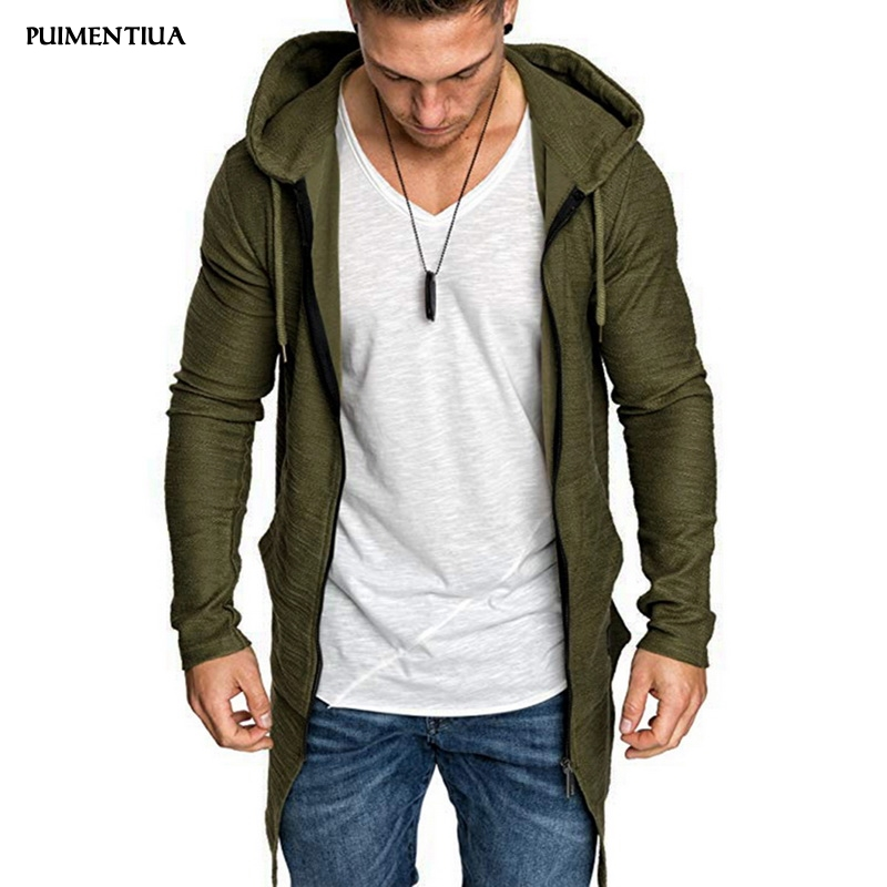 Cardigan Jacket Trench-Coat Hooded Long-Sleeve Autumn Male Mens Winter Solid Puimentiua