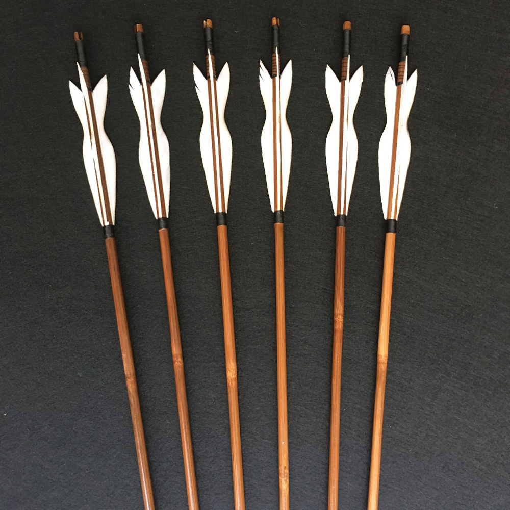 6/12/24pcs Archery Handmade Bamboo Arrows 5 Inches Turkey Feathers  For  Recurve Bow/Straight Bow/American Bow  Outdoor Hunting