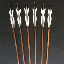 6/12/24pcs ยิงธนู Handmade ไม้ไผ่ลูกศร 5 นิ้วตุรกี Feathers สำหรับ Recurve Bow/ตรงโบว์/อเมริกันกลางแจ้งการล่าสัตว์