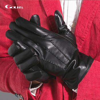 Gours Winter Genuine Leather Gloves Men Black Real Goatskin Finger Gloves Fashion Brand Driving Mittens Warm New Arrival GSM030 genuine leather gloves for women fingerless black fashion sheepskin wool one gloves winter half finger driving soft new arrival